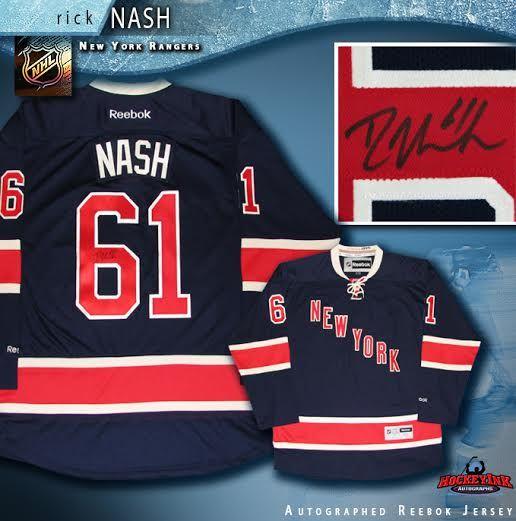 online store c0bb8 74ea5 Rick Nash Autographed New York Rangers Alternate Blue Reebok Jersey