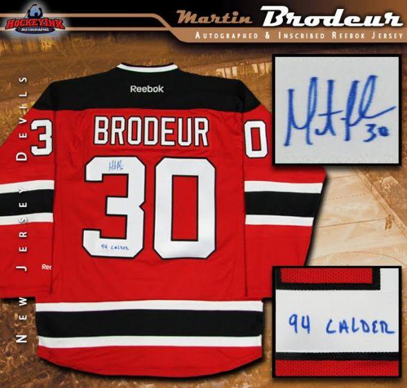 low priced d189c ed37f Martin Brodeur Autographed New Jersey Devils Reebok Jersey Inscribed 94  Calder