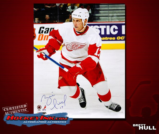 new product 3eae7 d72da Brett Hull Detroit Red Wings 16 x 20 Autographed Photo