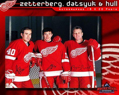 size 40 f79d7 924dc Henrik Zetterberg Pavel Datsyuk and Brett Hull Detroit Red Wings  Autographed 16 x 20 Photo