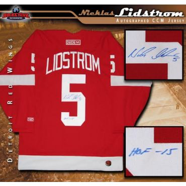 Nicklas Lidstrom Autographed Detroit Red Wings Red CCM Jersey with HOF Inscription