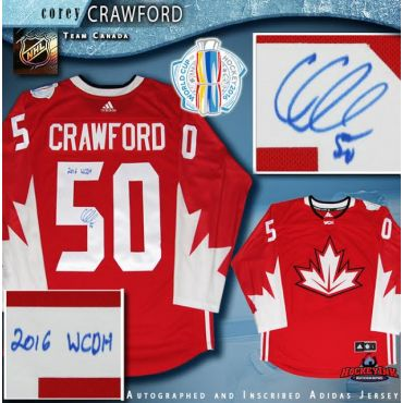 Corey Crawford Autographed and Inscribed 2016 World Cup of Hockey Team Canada Red Adidas Jersey