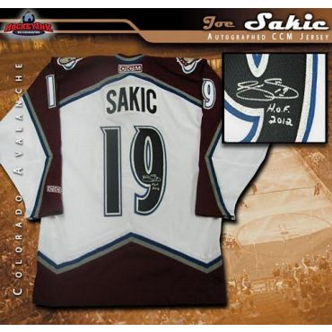 Joe Sakic Colorado Avalanche Autographed and Inscribed White CCM Jersey
