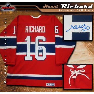 Henri Richard Montreal Canadiens Autographed Red Vintage CCM Jersey