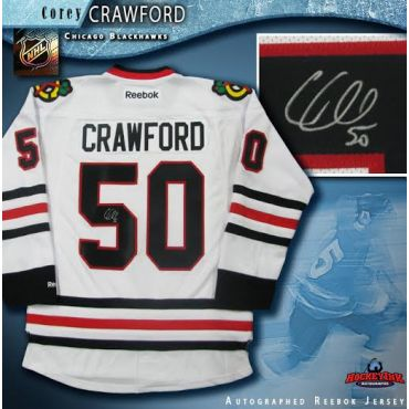Corey Crawford Chicago Blackhawks Autographed White Reebok Jersey