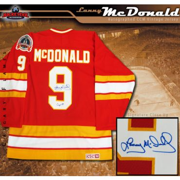 Lanny McDonald Autographed and Inscribed Calgary Flames Red CCM 1989 Stanley Cup Jersey
