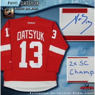 Pavel Datsyuk Autographed Detroit Red Wings Jersey Inscribed 2x SC Champ