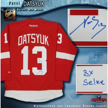 Pavel Datsyuk Autographed Detroit Red Wings Jersey Inscribed 3x Selke