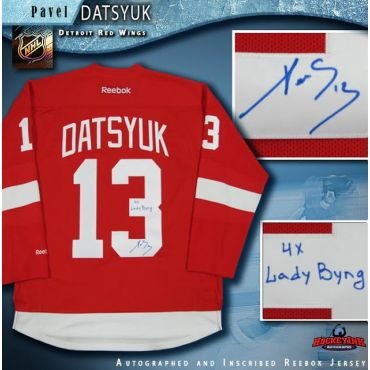 Pavel Datsyuk Autographed Detroit Red Wings Jersey Inscribed 4x Lady Byng