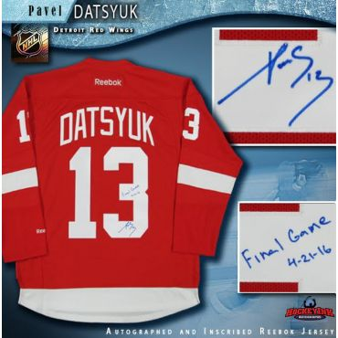 Pavel Datsyuk Autographed Detroit Red Wings Jersey Inscribed Final Game 4-21-16