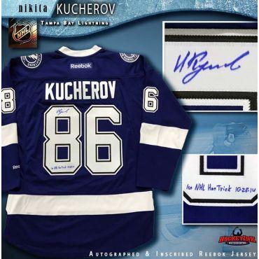 Nikita Kucherov Autographed Tampa Bay Lightning Blue Reebok Jersey with 1st NHL Hat Trick Inscription