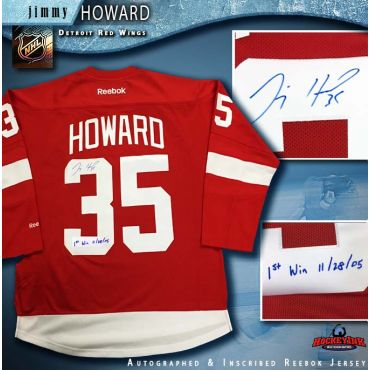 Jimmy Howard Autographed Detroit Red Wings Red Reebok Jersey with 1st Win Inscription