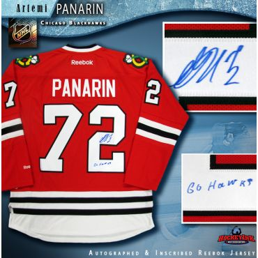 Artemi Panarin Autographed Chicago Blackhawks Red Reebok Jersey with Go Hawks Inscription