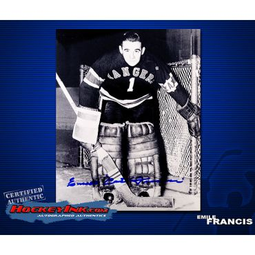 Emile Francis Autographed New York Rangers 8 x 10 Photo