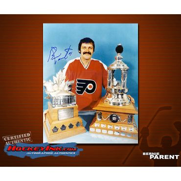 Bernie Parent Philadelphia Flyers with awards Autographed 8 x 10 Photo