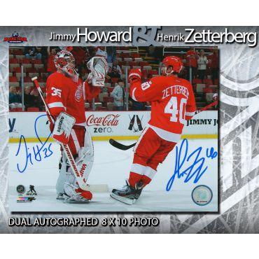Henrik Zetterberg and Jimmy Howard Autographed Detroit Red Wings 8 x 10 Photo