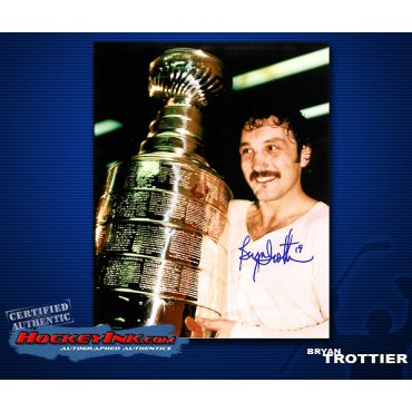 Bryan Trottier with Stanley Cup New York Islanders Autographed 8 x 10 Photo