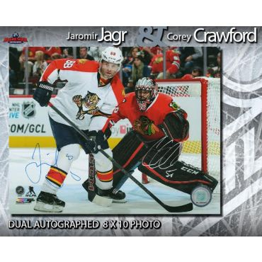 Jaromir Jagr and Corey Crawford Dual Autographed 8 x 10 Photo