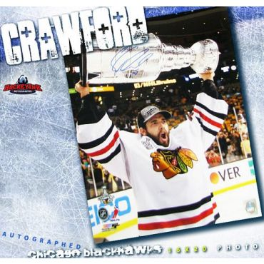 Corey Crawford with Stanley Cup Chicago Blackhawks 16 x20 Autographed Photo