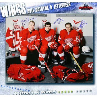 Henrik Zetterberg Pavel Datsyuk and Brett Hull Detroit Red Wings Autographed 16 x 20 Photo