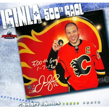 Jarome Iginla Calgary Flames 500th Goal Autographed and Inscribed 16 x 20 Photo