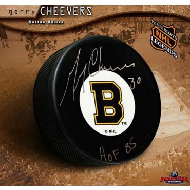 Gerry Cheevers Boston Bruins Autographed  and Inscribed Hockey Puck