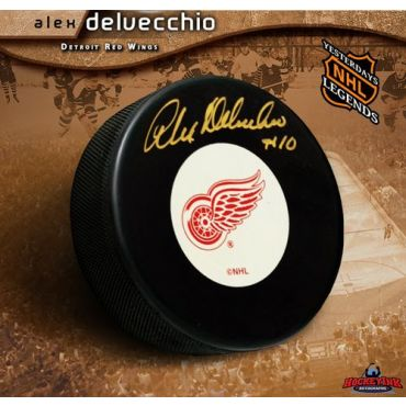 Alex Delvecchio Detroit Red Wings Autographed Hockey Puck