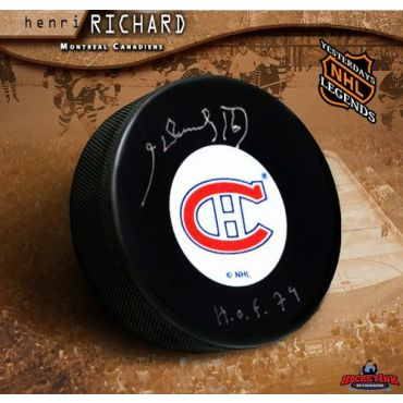 Henri Richard Montreal Canadiens Original Six with Hall of Fame Inscription Autographed Hockey Puck