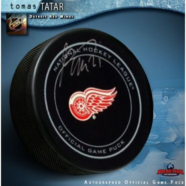 Tomas Tatar Detroit Red Wings Autographed Official Game Hockey Puck