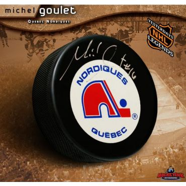 Michel Goulet  Autographed  Official Quebec Game Puck