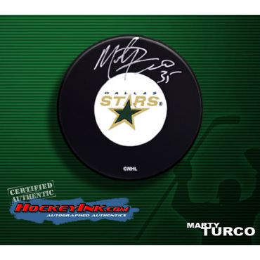 Marty Turco Autographed Dallas Stars Hockey Puck