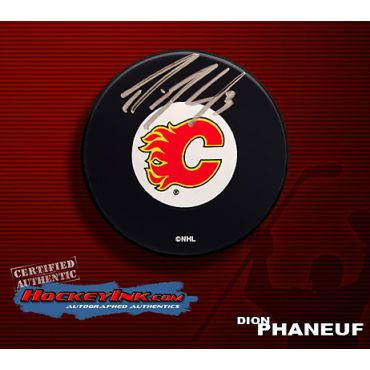 Dion Phaneuf Autographed Calgary Flames Hockey Puck