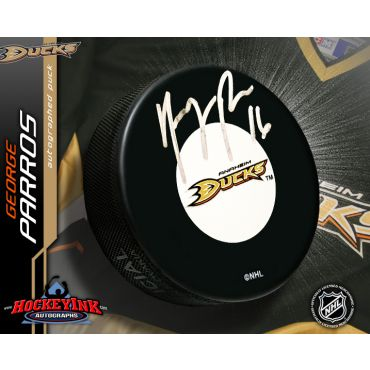 George Parros Anaheim Ducks Autographed Hockey Puck