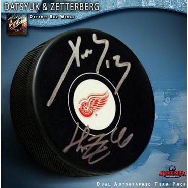 Pavel Datsyuk and Henrik Zetterberg Detroit Red Wings Autographed  Hockey Puck
