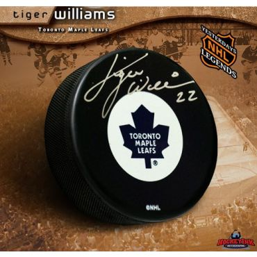 Tiger Williams Toronto Maple Leafs Autographed Hockey Puck