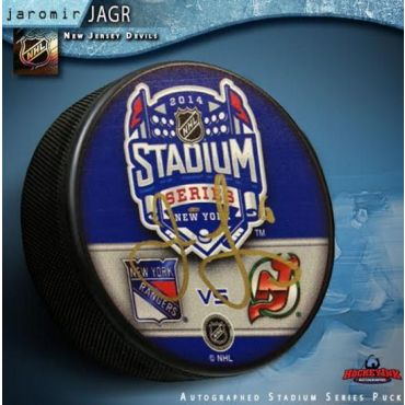 Jaromir Jagr New Jersey Devils 2014 Stadium Series Autographed Hockey Puck