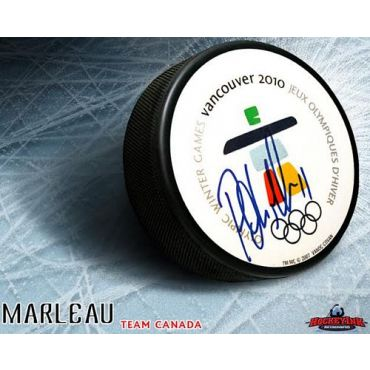 Patrick Marleau Team Canada Autographed 2010 Olympic Logo Puck