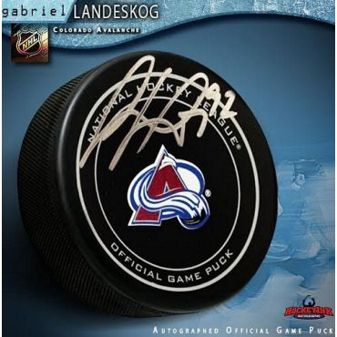 Gabriel Landeskog Colorado Avalanche Autographed Official Game Puck