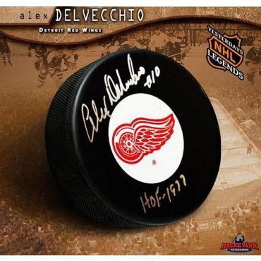 Alex Delvecchio Detroit Red Wings Autographed Hockey Puck with HOF Inscription