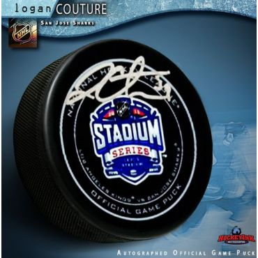 Logan Couture San Jose Sharks Autographed Stadium Series 2015 Official Game Hockey Puck