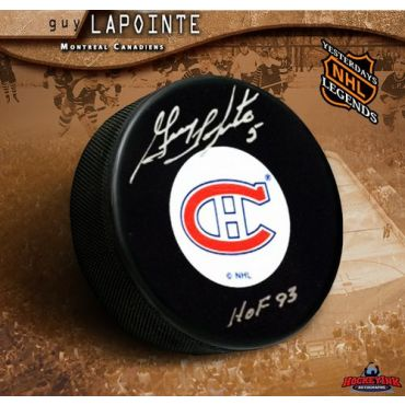 Guy Lapointe Montreal Canadiens Autographed Hockey Puck