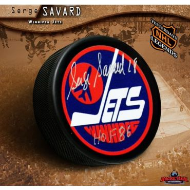 Serge Savard Winnipeg Jets Autographed Hockey Puck