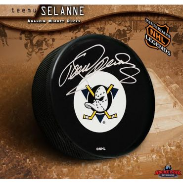 Teemu Selanne Autographed Anaheim Mighty Ducks Retro Puck