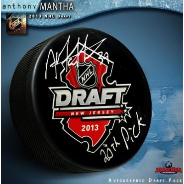 Anthony Mantha 2013 NHL Draft Autographed and Inscribed Hockey Puck