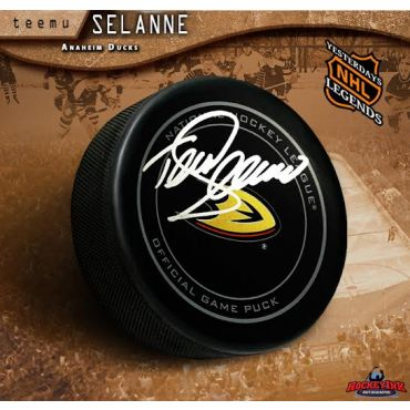 Teemu Selanne Autographed Anaheim Ducks Official Game Hockey Puck
