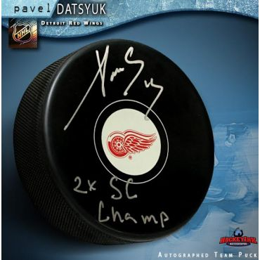 Pavel Datsyuk Autographed and Inscribed Detroit Red Wings Hockey Puck