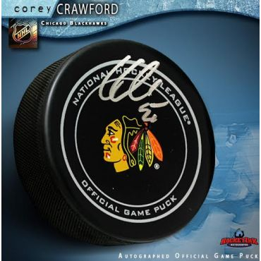 Corey Crawford Autographed Chicago Blackhawks Official Game Hockey Puck