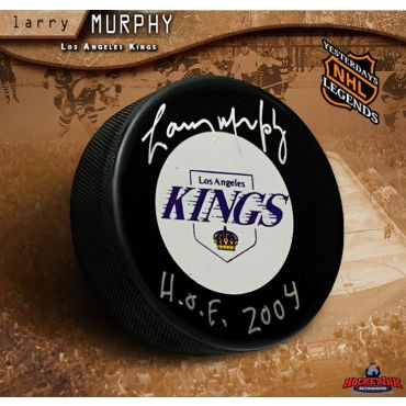 Larry Murphy Autographed Pittsburgh Penguins Hockey Puck Inscribed with HOF