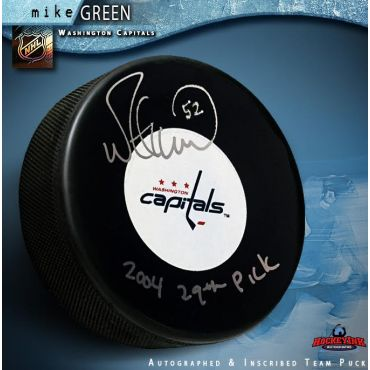 Mike Green Autographed Washington Capitals Puck Inscribed 2004 29th Pick