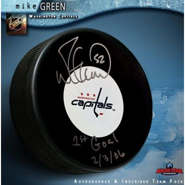 Mike Green Autographed Washington Capitals Puck Inscribed 1st Goal 2-3-06